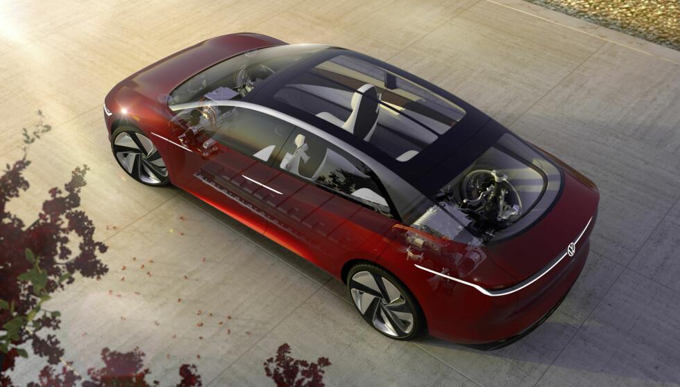 LANG: VW Vizzion måler over fem meter, og går rett i klinsj med Tesla. Foto: VW