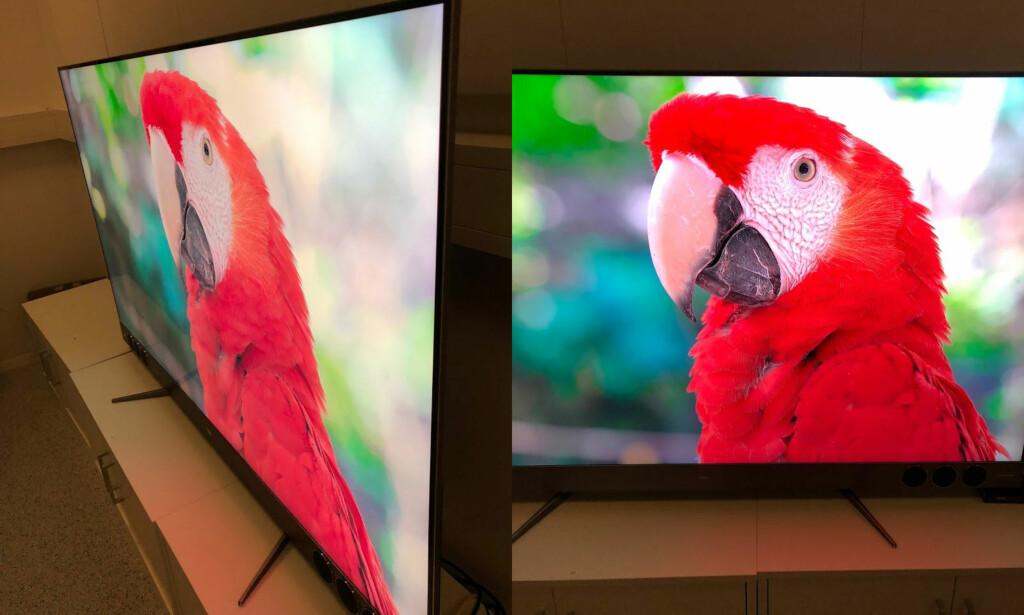 BRA INNSYNSVINKEL: Fargeintensiteten avtar noe, men det er helt greit å betrakte TV-bildet fra temmelig skrott hold. Foto: Bjørn Eirik Loftås