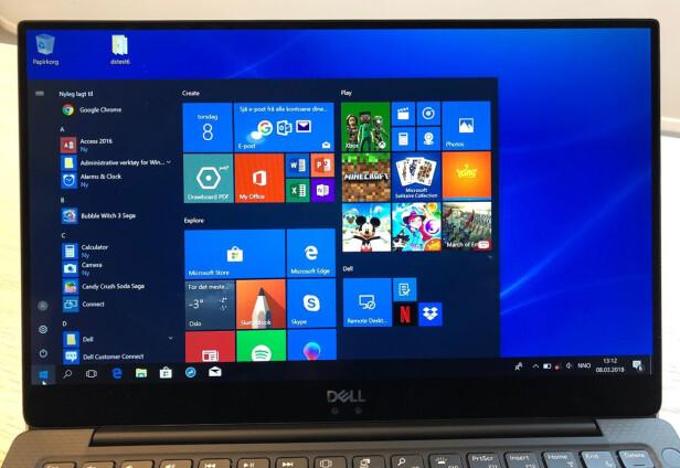 SE OG LÆR: Skjermen på Dell XPS 13 er svært bra, både på skarphet, fargegjengivelse og lysstyrke. Foto: Bjørn Eirik Loftås