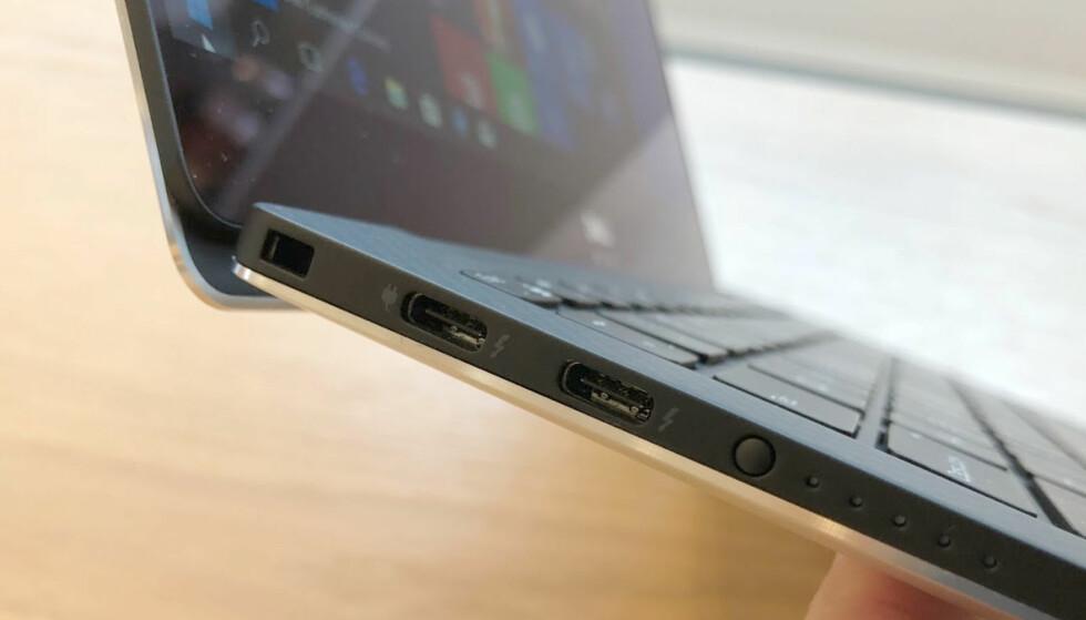 RASKESTE SORT: USB-C-porter som støtter både USB, Thunderbolt og DisplayPort, for ikke å glemme strøm. Foto: Bjørn Eirik Loftås