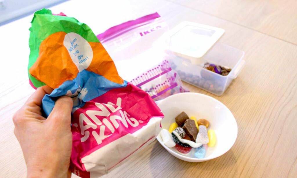 MYE TIL OVERS? Hamstret godteri på tilbud eller mye til overs? Her er tipsene til hvordan du bør oppbevare godteriet. Foto: KRISTIN SØRDAL