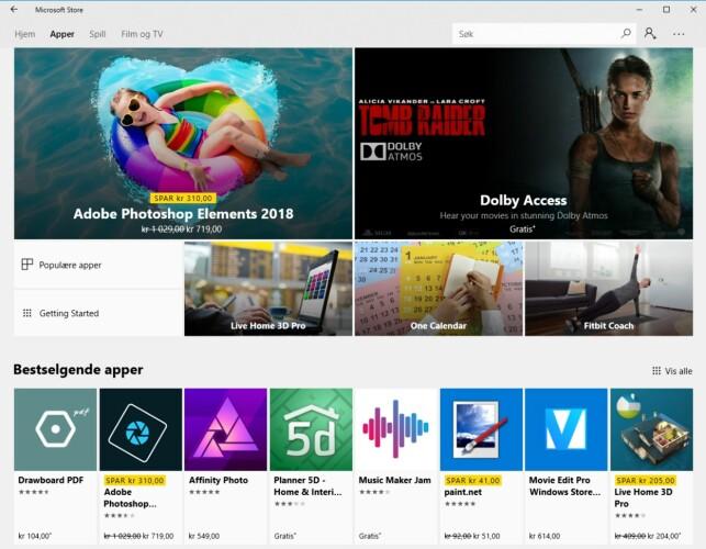 BRA UTVALG: Windows Store inneholder nå tusenvis av apper og spill, inkludert Photoshop Elments 2018 og andre kjente titler som tidligere kun var tilgjengelige som vanlige Windows-programmer. Skjermdump: Dinside