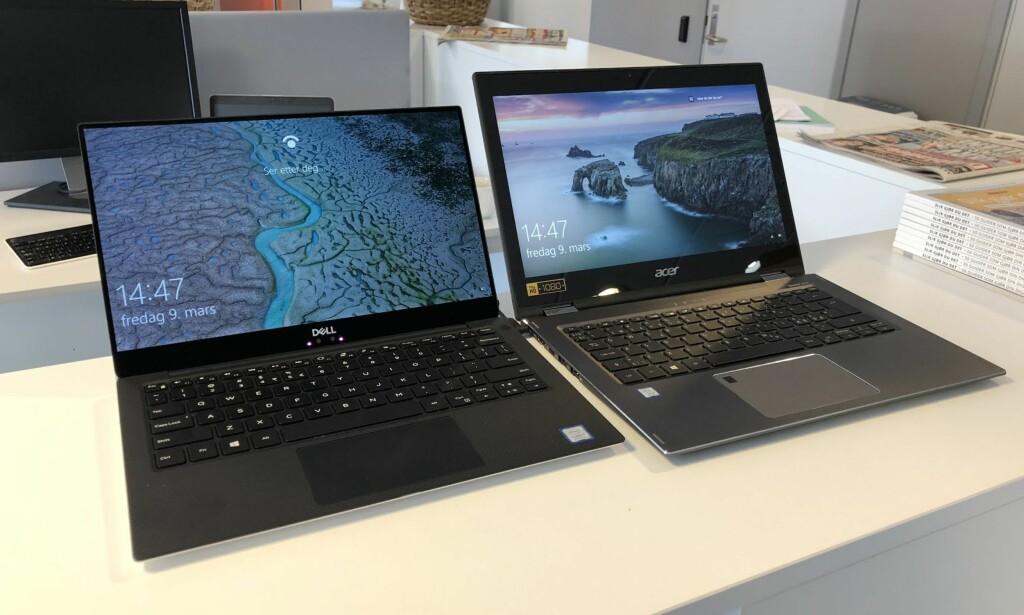SAMME ÅRGANG: PC-en fra Acer til høyre er mye større, men skjermstørrelsen er den samme. Foto: Bjørn Eirik Loftås