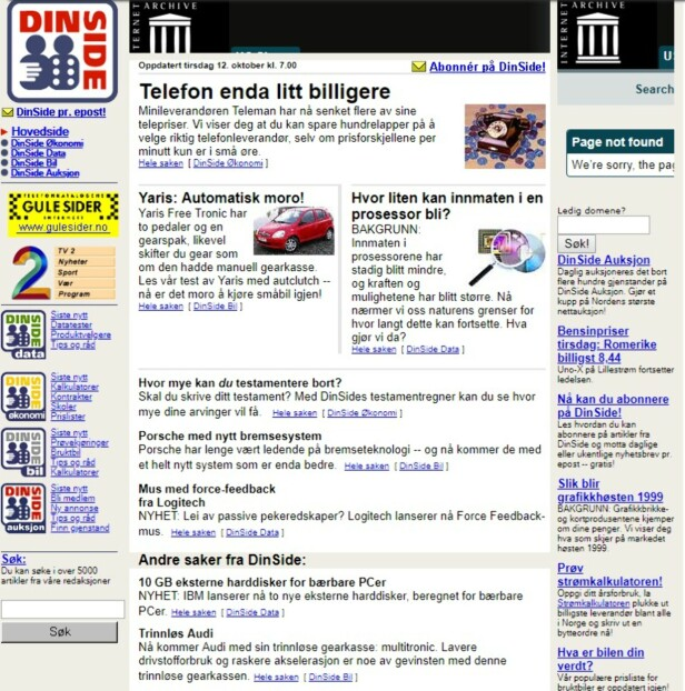 MYE TEKST: Som du ser av skjermbildet over, fra oktober 1998, var det lite grafikk og mye tekst på forsiden vår den gang. Bildene var 80 piksler brede, logoen rundt 100. Skjermdump: Wayback.org