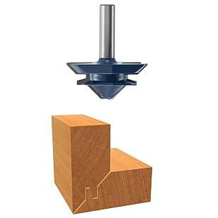 SKJØT : Med dette fresestålet lager du en sammenføyning der bordene låses i hverandre. Foto: Bosch