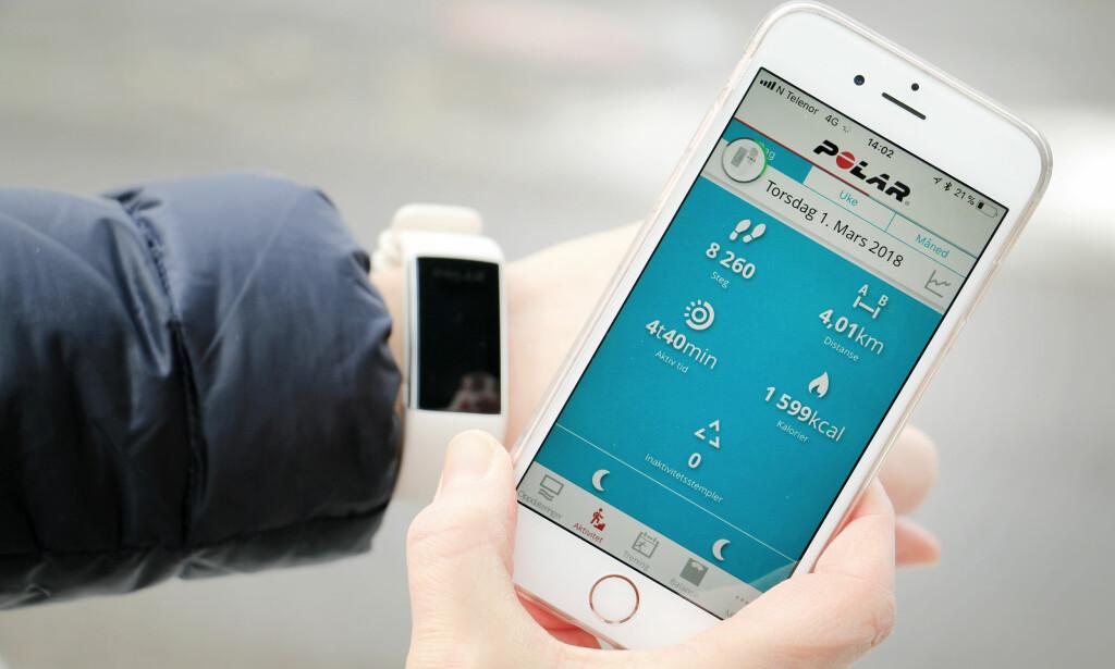 HER KAN DU FØLGE MED: Appen er grei - men her har Polar enda litt å gå på når det kommer til brukervennlighet. Foto: Ole Petter Baugerød Stokke