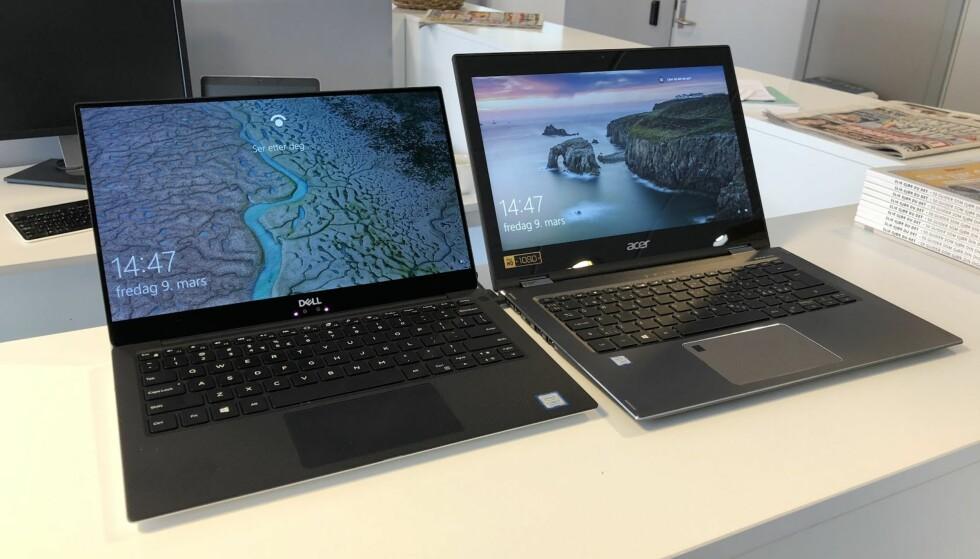 KANT RUNDT SKJERMEN: Til venstre Dell XPS 13, til høyre Acer Spin 5. Begge har 13,3 tommer skjermer. Foto: Bjørn E Loftås