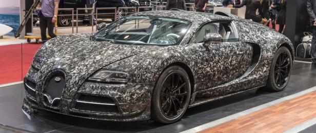 FUGLESKIT: Forrige genersajon Bugatti med en slags grovkarbon-folie og helt nysydd interiør. Foto Jamieson Pothecary