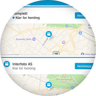 ÉN BESTILLING, TO HENTESTEDER: Slik så Postnord-appen ut da vi skulle hente et kamera og et minnekort kjøpt fra Komplett.no. Foto: Ole Petter Baugerød Stokke