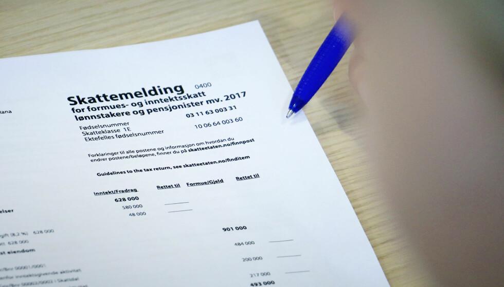 TYPISKE FEIL: Ifølge Skatteetaten blir det ofte gjort feil knyttet til fradrag og eiendom i skattemeldingen. Derfor er etaten ekstra nøye med å sjekke dette når de får inn de ferdigutfylte skattemeldingene.  Foto: Ole Petter Baugerød Stokke.