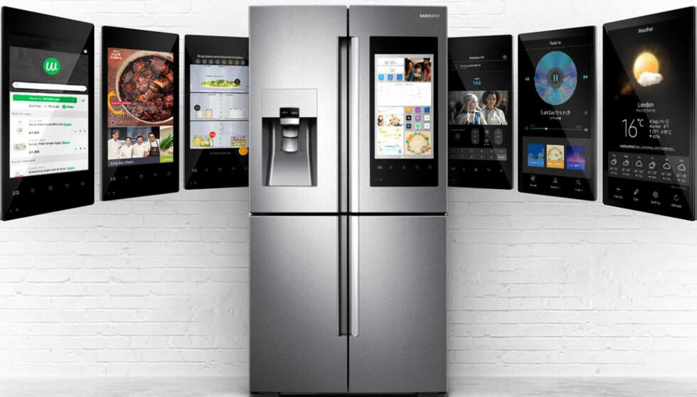 SMARTSKAP: Samsungs Family Hub 2.0 RF56M9540SR tar konseptet «kjøl/frys» inn i nett-alderen. Foto: Samsung
