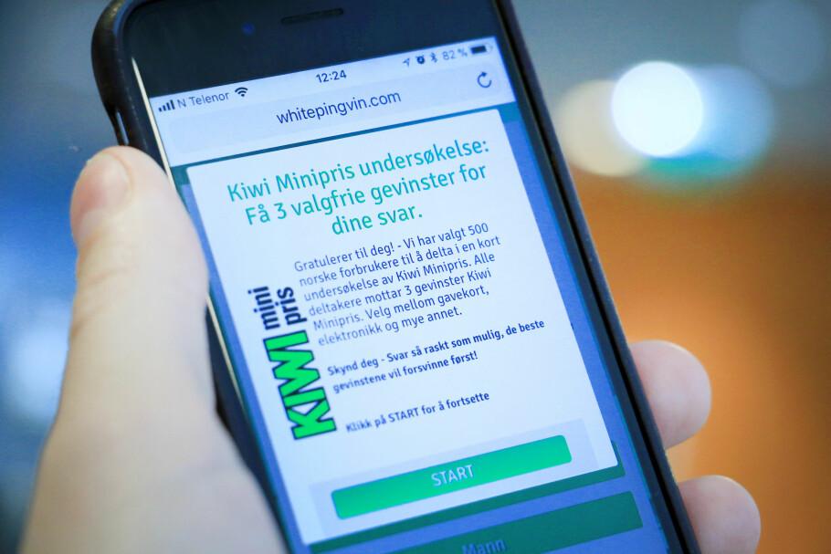 <strong>GODT NORSK:</strong> Slik ser spørreundersøkelsen ut, som opp mot 150.000 nordmenn skal ha fått SMS om. Meldingen og undersøkelsen er falsk, Kiwi står ikke bak og de som sender slike SMS-er omtales som svindlere. Foto: Ole Petter Baugerød Stokke