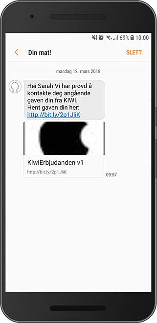 MANGE VARIANTER: Her er en av meldingene Kiwi har advart kundene sine om, som sendte dem til falske spørreundersøkelser. Foto: Kiwi
