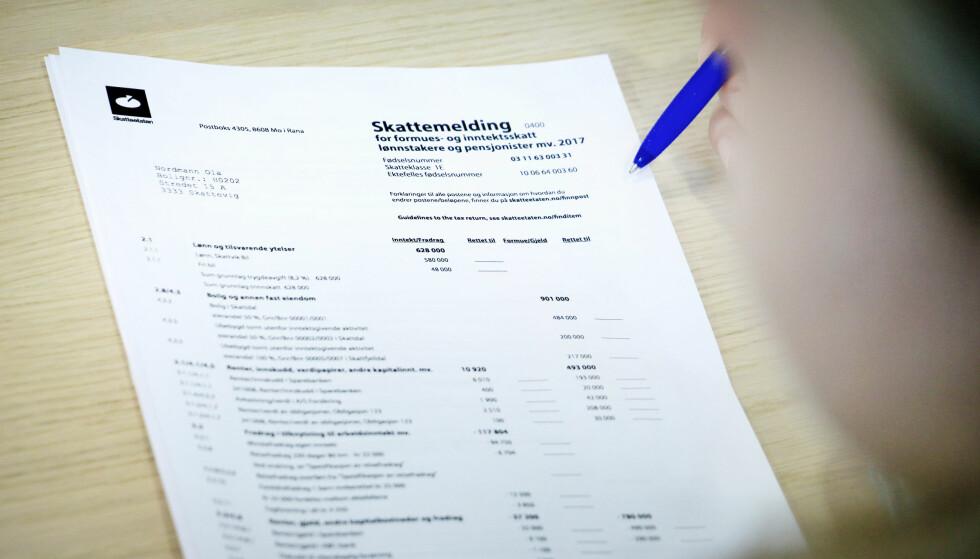 PENGER IGJEN PÅ SKATTEN: Logg deg inn på skattesidene og sjekk skattemeldingen for 2017 for å finne ut om du fikk penger igjen på skatten eller ei. Foto: Ole Petter Baugerød Stokke.