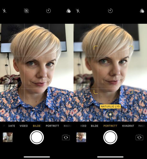USKARP BAKGRUNN: På iPhone X kan du ta selfie i portrettmodus, noe som vil gi en mer uskarp bakgrunn, i tillegg til at du også får mulighet til å justere lyssettingen. Skjermbilde: Kirsti Østvang