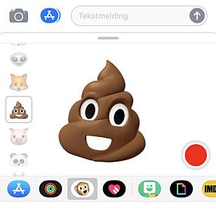 SNAKKENDE BAJS: Ja da, animoji fungerer med bajs-emojien. Skjermbilde: Kirsti Østvang