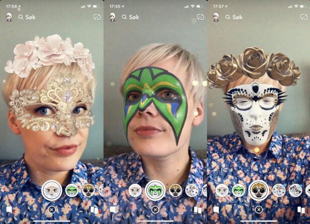 <strong>SLIK SER DE UT:</strong> Ansiktsfiltrene, altså. Vi synes de ser bedre ut enn de vanlige Snapchat-filtrene, men om det er takket være Apples teknologi eller selve filtrene, kan man alltids diskutere. Foto: Kirsti Østvang