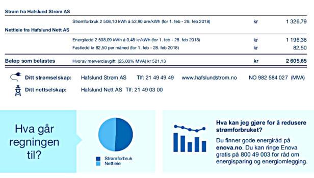 DELT I TO: PÅ denne strømregningen er det beregnet strømforbruk og nettleie for et månedsforbruk på 2.508 kilowattimer. Skjermdump: Hafslund/Tore Neset