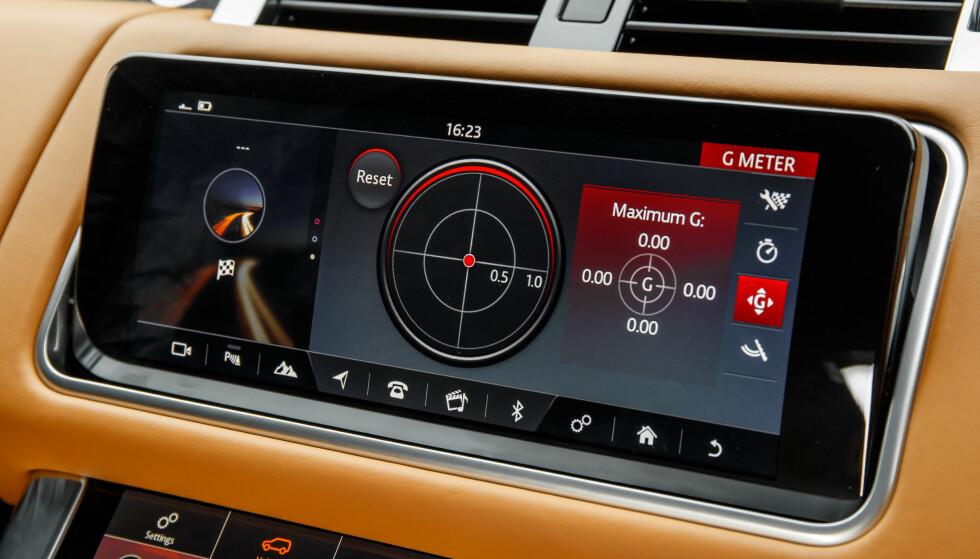 HOLDER OVERSIKTEN: Diverse data om kjøringen kan vises på skjermen. Her: G-krefter. Foto: Land Rover