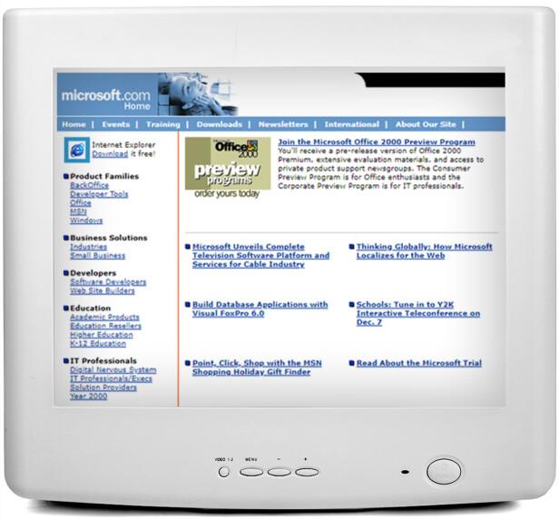 <strong>MICROSOFT:</strong> Her ser du Microsoft.com i 1998. De utviklet da Office 2000.