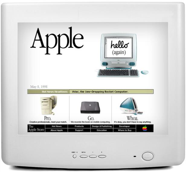 <strong>APPLE:</strong> Og erkekonkurrenten sin Apple.com, som i 1998 nettopp hadde lansert sin første iMac.