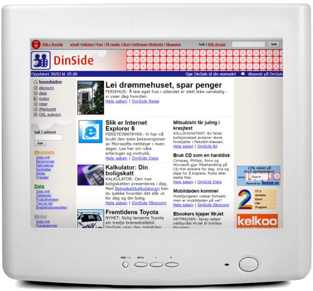 <strong>2001:</strong> Dinside-logoen har blitt pusset opp, og merkenavnet QXL har dukket opp. Vi har også testet Internet Explorer 6, og skryter av mulighetene med CD-brenning.
