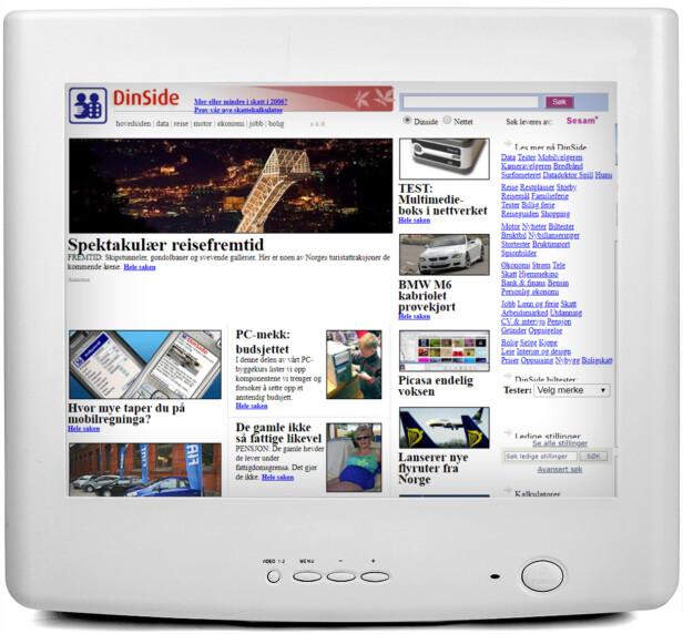 <strong>2006:</strong> Flere artikler og mindre tjenester preger Dinside-forsida. Du ser også hvordan mobilsurfing har begynt å bli utbredt, med pristesten av mobildata.