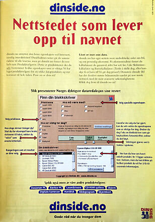 <strong>ANNONSE:</strong> Denne Dinside-annonsen stod i PC World Express 17. april 1998. Skulle bladleserne kapres, måtte man reklamere i deres kanaler.