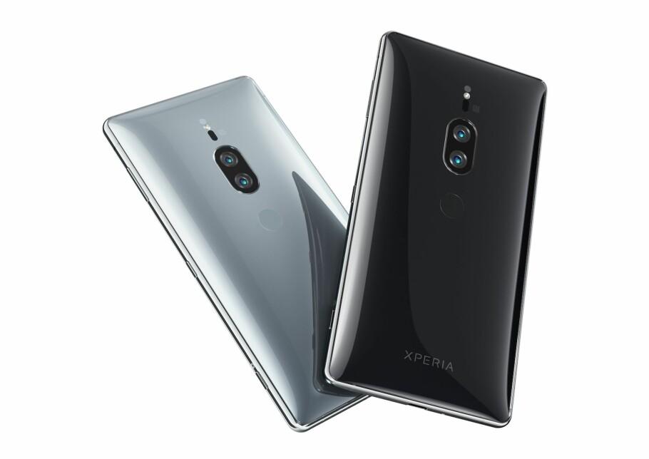 NYTT DESIGN, NYE KAMERAER: Sonys nye Xperia XZ2 Premium har ikke bare nytt design, men også et nytt dobbel-kamera på baksiden. Foto: Sony