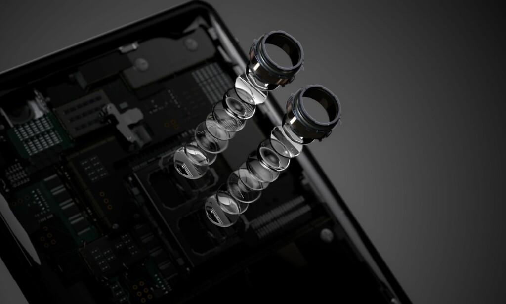 TO OBJEKTIVER: Dobbel-kameraet til XZ2 Premium har to objektiver på henholdsvis 19 og 12 megapiksler. Det siste er den nevnte sort/hvitt-sensoren. Foto: Sony