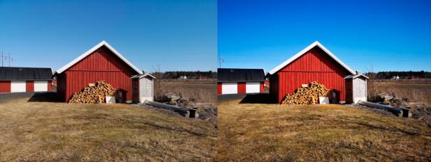 Med «Master AI» aktivert (til høyre) blir bildene noen ganger overdrevet i fargene, for eksempel når himmelen er blå. Foto: Pål Joakim Pollen