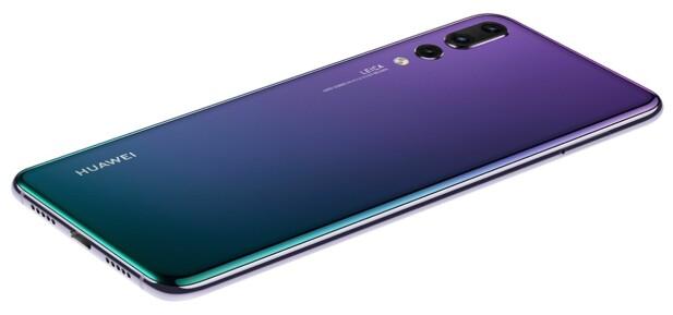 ANNERLEDES: Twilight-utgaven av P20 Pro har en fargesjattering fra grønn til lilla på baksiden. Foto: Huawei