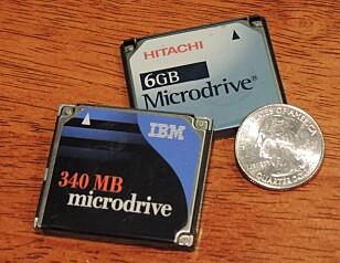 STORT: IBMs første Microdrive på 340 MB kostet rundt 4.000 kroner i Norge da den ble lansert. Foto: Wikipedia