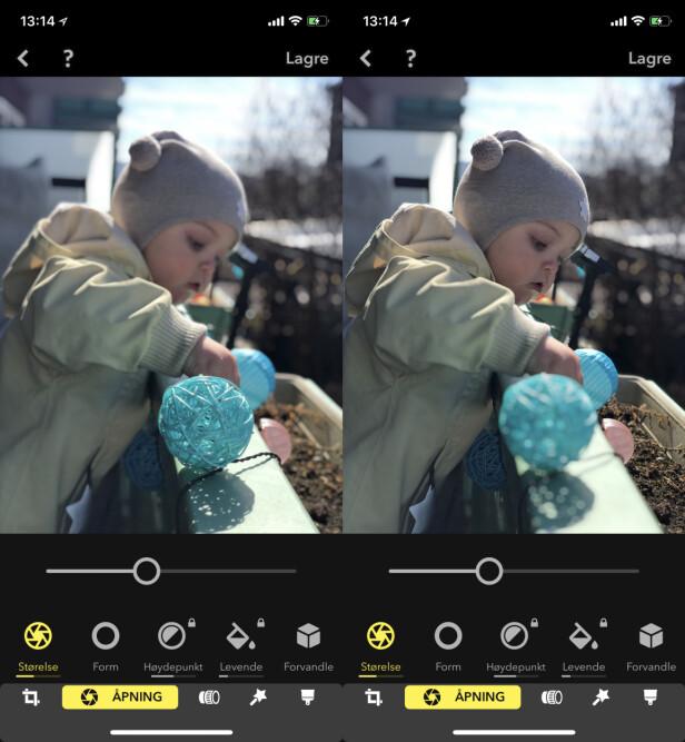 FLYTT FOKUS: Her hadde vi i utgangspunktet fokusert på lysballen, men med Focos kunne vi velge ansiktet til barnet i stedet. Skjermbilde: Kirsti Østvang