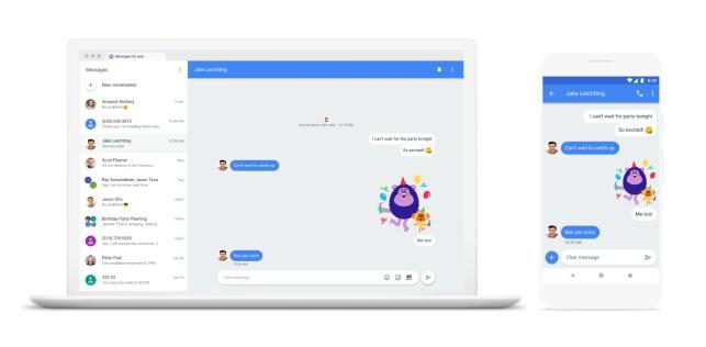 KOMMER TIL DESKTOP: Google har planer om å lage en webversjon av Android Messages med støtte for Chat. Messages-appen på Android vil også få flere funksjoner slik at den blir mer enn vanlig meldingsapp. Klikk for større bilde. Illustrasjon: Google