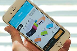 DETTE ER WISH: Wish er en netthandelside, som eBay, som formidler salg av alt fra elektronikk til klær, sko og interiørartikler - ofte til veldig lave priser. De annonserer mye på Facebook. Foto: Kristin Sørdal