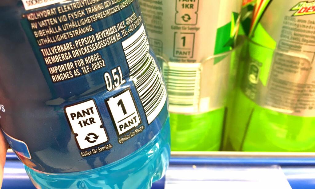MÅ HA BEGGE PANTEMERKENE: Du får kun utbetalt pant dersom flasken har både norsk og svensk pantemerke, som dette. Foto: Kristin Sørdal