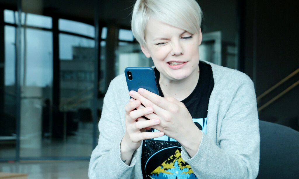 FØLGER ANSIKTET: Med iPhone X kan du lage animerte emojier som følger dine egne ansiktsbevegelser. Foto: Ole Petter Baugerød Stokke