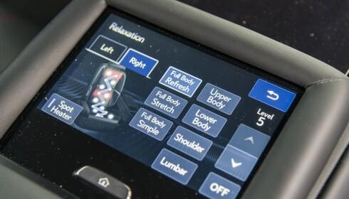 VELG SELV: Slik ser innstillingene for massasje ut på Lexus LS 500. Begge foto: Jamieson Pothecary