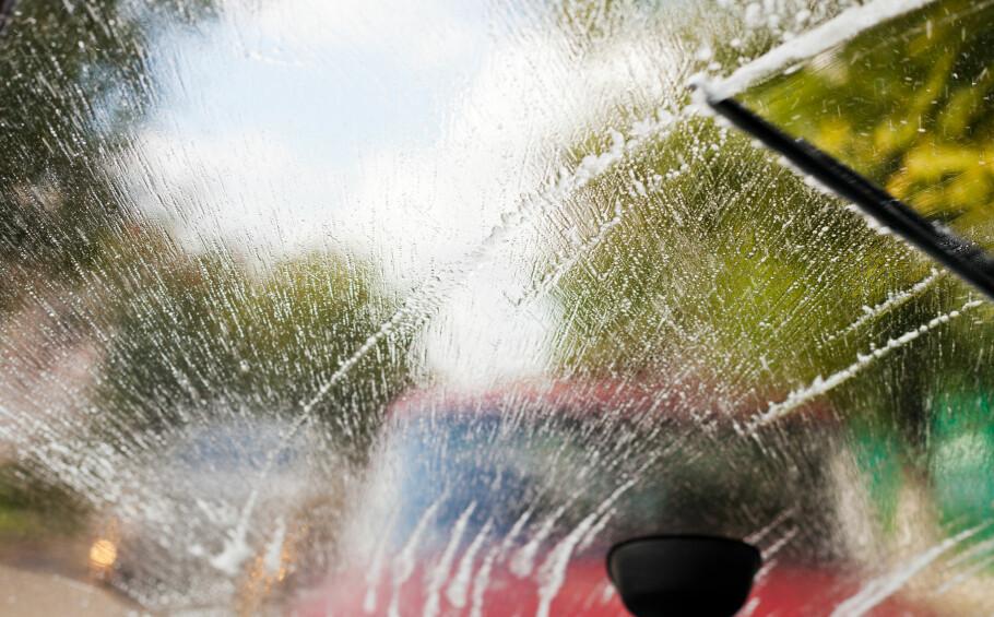 EN FOR SOMMER, EN FOR VINTER: Spylervæsken du kjøper om vinteren har dårligere effekt om sommeren. Foto: Shutterstock / NTB Scanpix