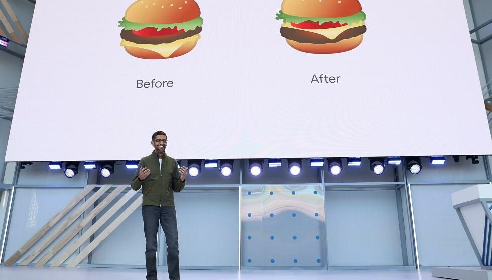 FIKSET BURGEREMOJIEN: Det første Google-sjef Sundar Pichai presenterte på Google I/O 2018 keynoten var at selskapet nå har fikset den omstridte burgeremojien hvor osten var plassert under kjøttet. Foto: NTB Scanpix