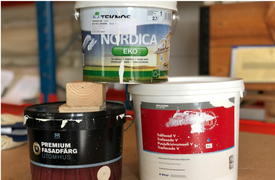 BEST I TEST AV MALING OG BEIS: Biltema, Rusta og Teknos kåres til best i test av svenske Folksam, som har testet 46 malingsprodukter for utendørsbruk. Testen har gått over to år. Foto: Folksam