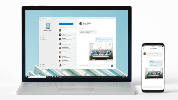 <strong>RETT PÅ SKRIVEBORDET:</strong> Med den nye appen vil du altså få tilgang til en del mobilinnhold på en PC med Windows 10. Foto: Microsoft