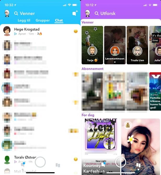 """""""OPTIMALISERT"""": Nå er kun snapper og chat på venstre side, mens stories er på høyre. Du kan riktignok se på dine venners stories på venstre side som før (før de forrige endringene...) Skjermbilde: Kirsti Østvang"""