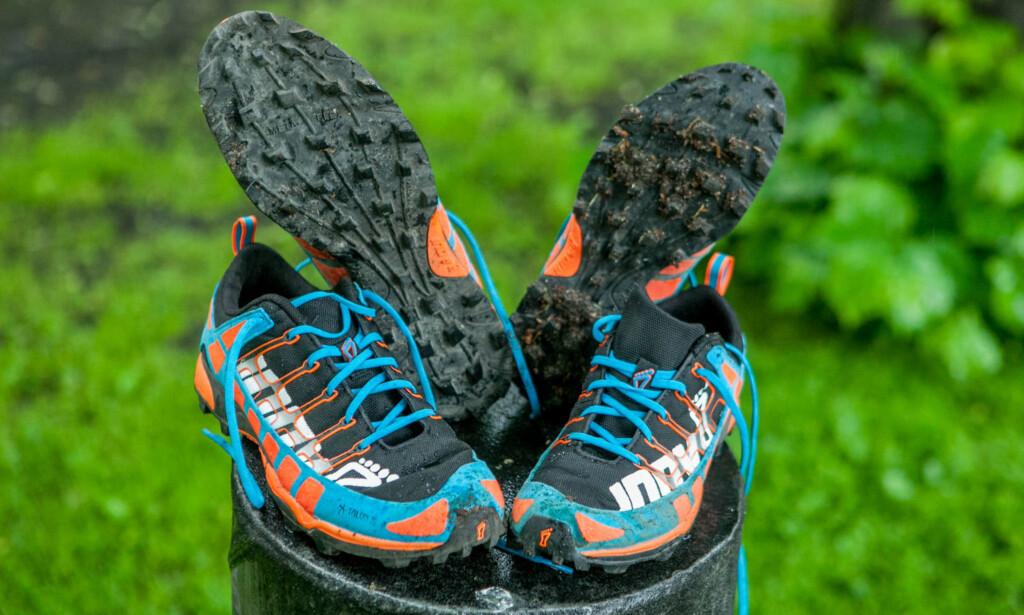 SKOGENS KONGE 2014: Inov8 X-talon 212. Vi var mektig imponert over disse skoene i 2014 - og de er fremdeles blant våre favoritter. Nå kommer en ny modell, arvtageren X-talon 230. Nå får du X-talon 212 for rundt 700 kroner. Det er et røverkjøp. Foto: Per Ervland