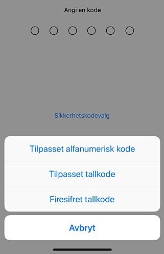 BYTT TIL PASSORD: For å være på den sikre siden, bør du bruke alfanumerisk kode for å låse iPhonen din. Skjermbilde: Kirsti Østvang
