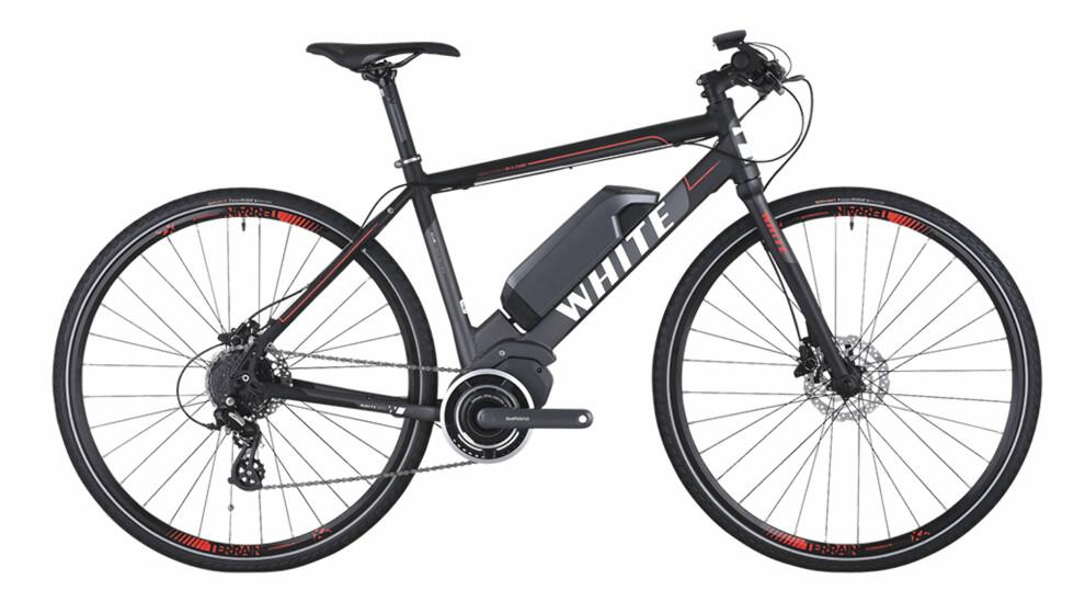 <strong>TÅLER IKKE REGN:</strong> XXL-sykkelen White SC-E Comp bør du helst bare bruke i godvær, mener NAF/Testfakta. Foto: Whitebikes.no