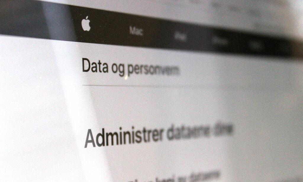 image: På denne nettsiden kan du se hvilken info Apple har lagret om deg