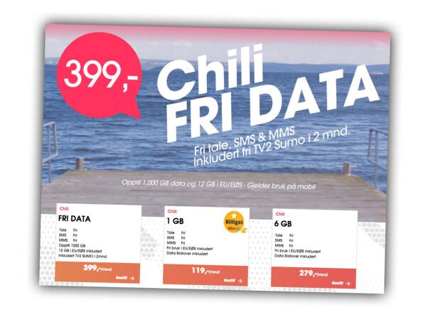 «FRI DATA»: Chili Mobils nye abonnement heter «fri data», men har en begrensning på 1.000 GB i måneden. Skjermbilde: Dinside