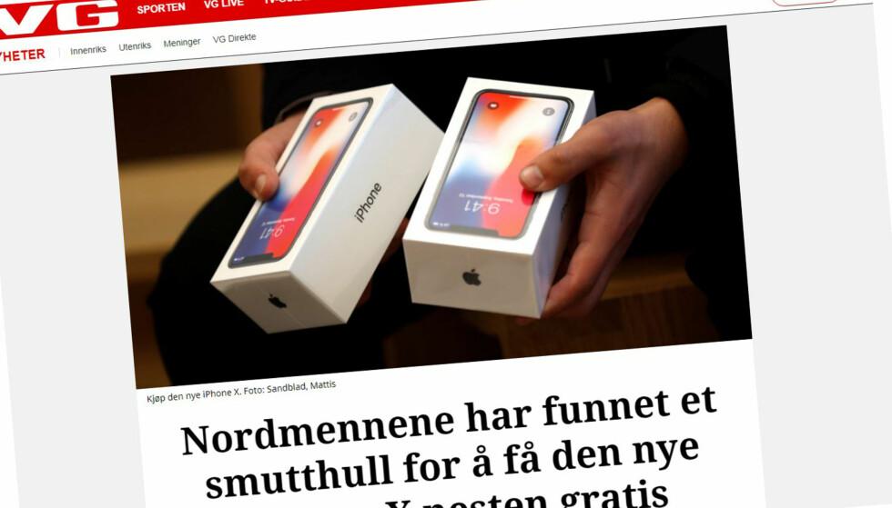 SVINDEL: Både VG og andre kjente, norske nettsteder misbrukes for å lure nordmenn til å legge fra seg informasjon på falske nettsider. Selvsagt får du ikke en gratis iPhone. Om tilbudet virker for godt til å være sant, er det vanligvis det: Ikke sant! Foto: Skjermdump